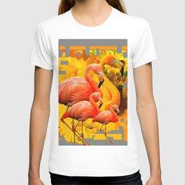 GOLDEN YELLOW SAFFRON FLAMINGOS FANTASY GREY ART ABSTRACT T-shirt