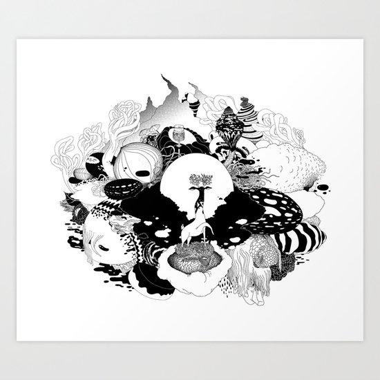 Brain junk forest Art Print