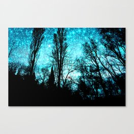 black trees turquoise teal space Canvas Print