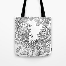 Birds tree botanical pattern Tote Bag