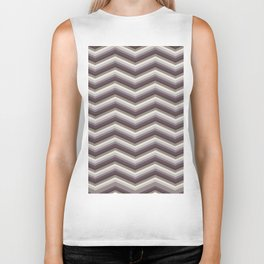 Geometrical ivory gray purple modern chevron Biker Tank