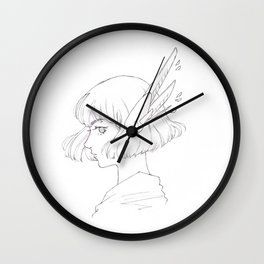 Mecha girl sci-fi manga art Wall Clock