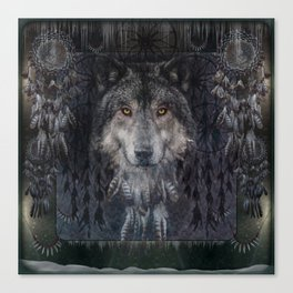 The Winter is here - Wolf Dreamcatcher Canvas Print