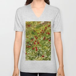 Impressionist Poppies Unisex V-Neck