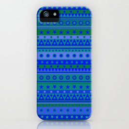 Blue and Green Stripy Stars and Spots Pattern iPhone Case