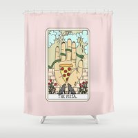 reading Shower Curtains featuring PIZZA READING by Sagepizza