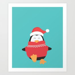 Little Penguin in Ugly Christmas Sweaters Art Print