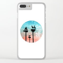 Storks Watercolor Clear iPhone Case