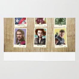 Vintage Super Hero Trading Cards #1 (wooden background) Rug