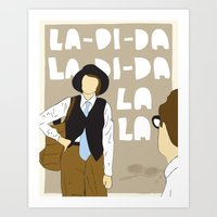 annie hall Art Prints featuring La-Di-Da - Annie Hall by Mike Oncley