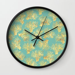 Gold Corals on blue ink Wall Clock
