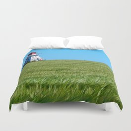 Lighthouse and the Crop Field Duvet Cover