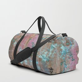 Abstract turquoise flowers on colorful rusty background Duffle Bag
