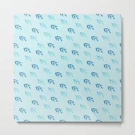 Modern pastel blue teal navy blue leaves pattern Metal Print