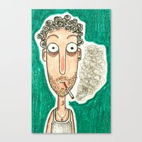 smoking Canvas Prints featuring SMOKING by t i t i l l a