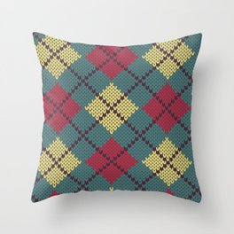 Faux Retro Argyle Knit Throw Pillow