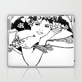 Line Drawing of Irish Woman Holding Shamrocks Laptop & iPad Skin