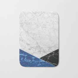 Geometric White Marble - Blue Granite & Black Granite #514 Bath Mat