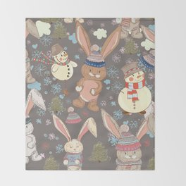 6)Christmas cute illustration with bunny and snowmen. Winter design illustration Throw Blanket