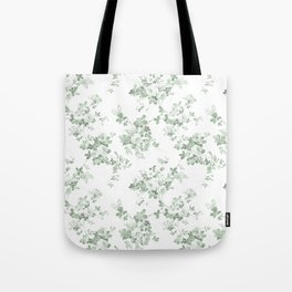 Elegant vintage green white roses shabby floral Tote Bag