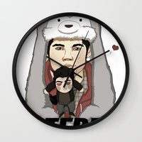 teen wolf Wall Clocks featuring Teen Wolf-Sterek Hat by nolongerinuse