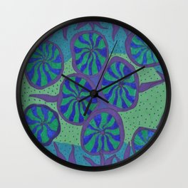 Blue Ocean Groove Wall Clock