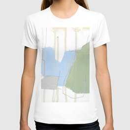 stone by stone 1 - abstract art fresh color turquoise, mint, purple, white, gray T-shirt