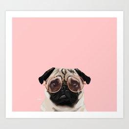 Intellectual Pug Art Print