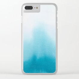 Turquoise Watercolor Clear iPhone Case