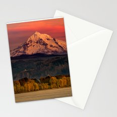 Mountain Mount Hood Oregon at Sunset Pink Sky Travel Columbia River Nature Water Photograph Wall Stationery Cards