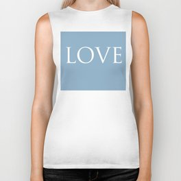 Love word on placid blue background Biker Tank