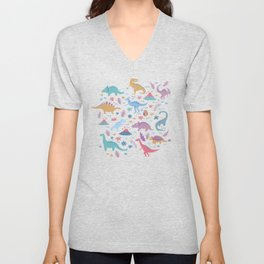 Dinosaur + Flowers Pattern Unisex V-Neck