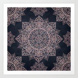 Elegant rose gold poinsettia and snowflakes mandala art Art Print
