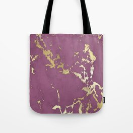 Plum Gold Marble Tote Bag