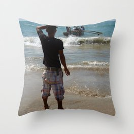 Watching the Boat Leave Palolem Beach Throw Pillow