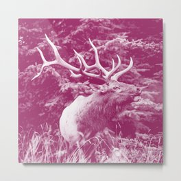elk magenta purple tone washed out effect aesthetic wildlife art photography Metal Print