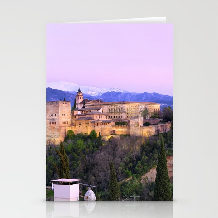 La Alhambra, Sierra Nevada and Granada. At pink sunset Stationery Cards