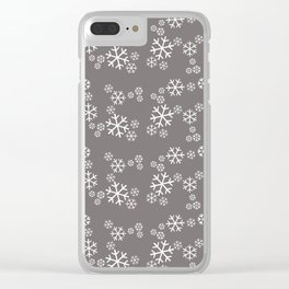white snowflakes silver Clear iPhone Case