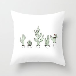 Cacti Collection Colored Throw Pillow