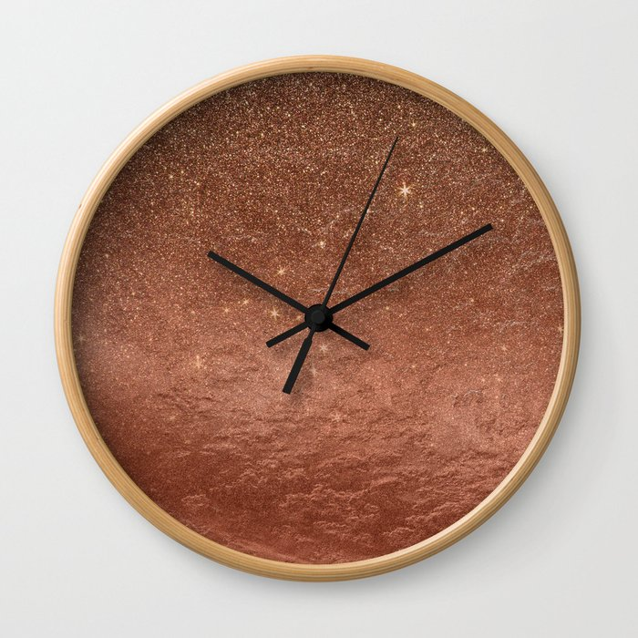 Elegant modern fax rose gold glitter Wall Clock