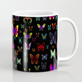 Numerous colorful butterflies on a neutral background Coffee Mug