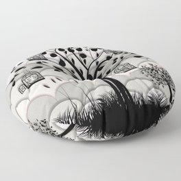 Paper landscape B&W Floor Pillow