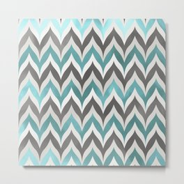 Chevron Aqua Grey Metal Print