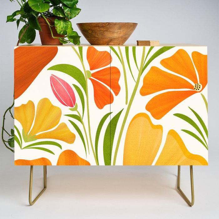 Modern Credenza Cupboard | Spring Wildflowers / Floral Illustration by Modern Tropical - Gold - Birch - Society6
