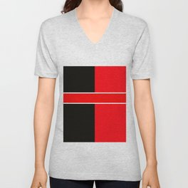 Team Colors 6...red,black,white Unisex V-Neck