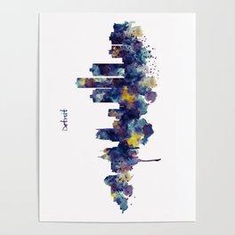 Detroit Skyline Silhouette Poster