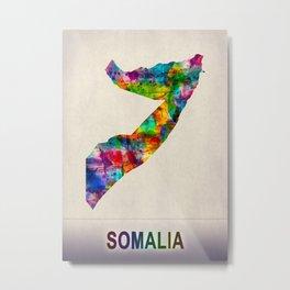 Somalia Map in Watercolor Metal Print