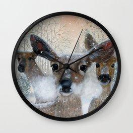 Deer in the Snowy Woods Wall Clock