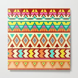 Vector Seamless Tribal Pattern. Ethnic Print Ornament with Triangles, Chevrons  Metal Print