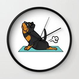 Rottweiler Yoga Pose Wall Clock